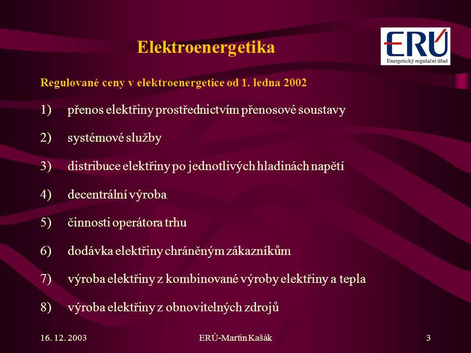 16. 12. 2003ERÚ-Martin Kašák3 Elektroenergetika Regulované ceny v elektroenergetice od 1. ledna 2002 1)přenos elektřiny prostřednictvím přenosové sous