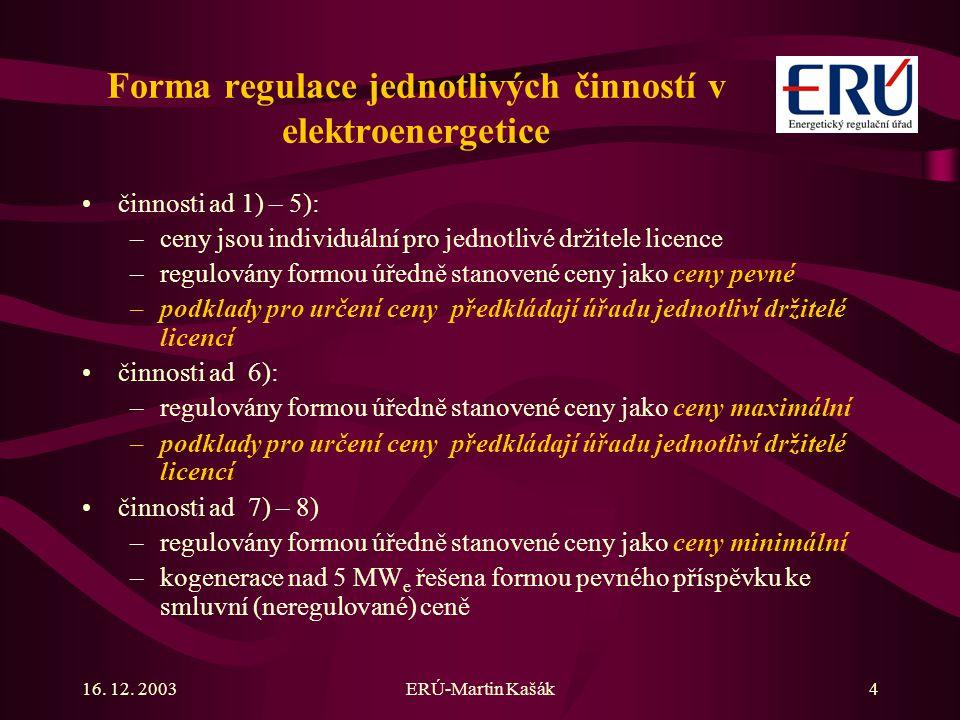 16. 12. 2003ERÚ-Martin Kašák4 Forma regulace jednotlivých činností v elektroenergetice činnosti ad 1) – 5): –ceny jsou individuální pro jednotlivé drž