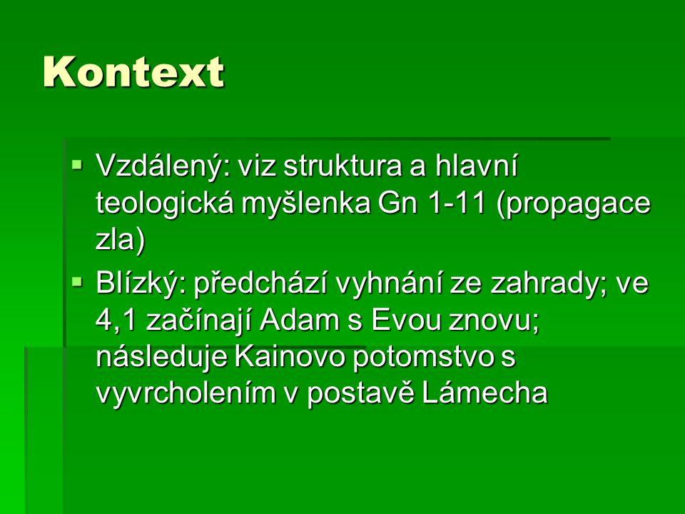 Kontext  Vzdálený: viz struktura a hlavní teologická myšlenka Gn 1-11 (propagace zla)  Blízký: předchází vyhnání ze zahrady; ve 4,1 začínají Adam s