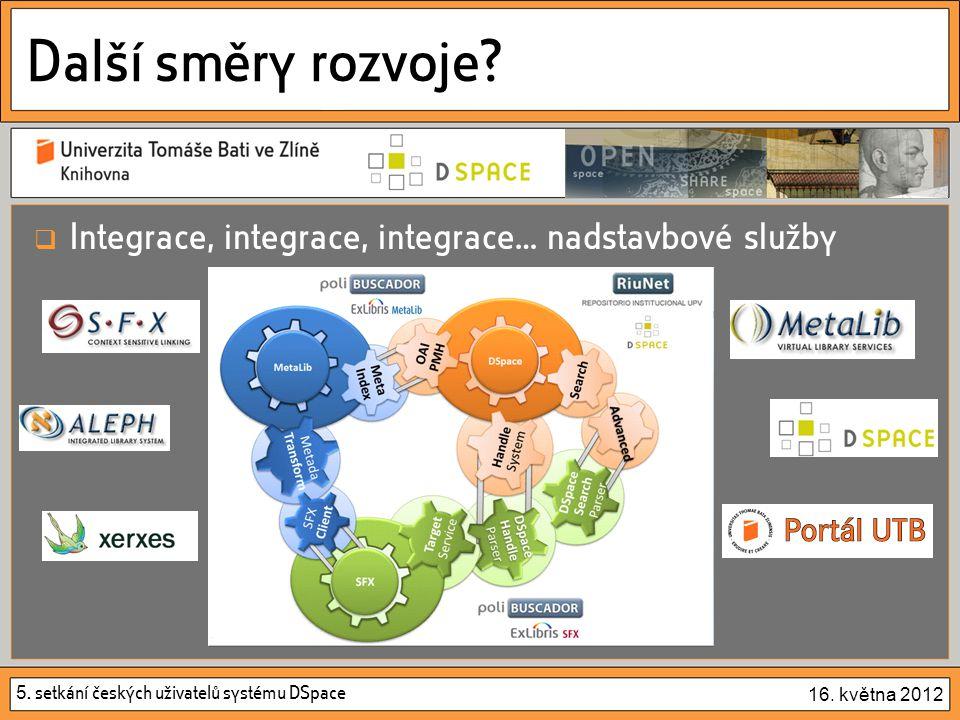 5. setkání českých uživatelů systému DSpace 16. května 2012 Další směry rozvoje?  Integrace, integrace, integrace… nadstavbové služby