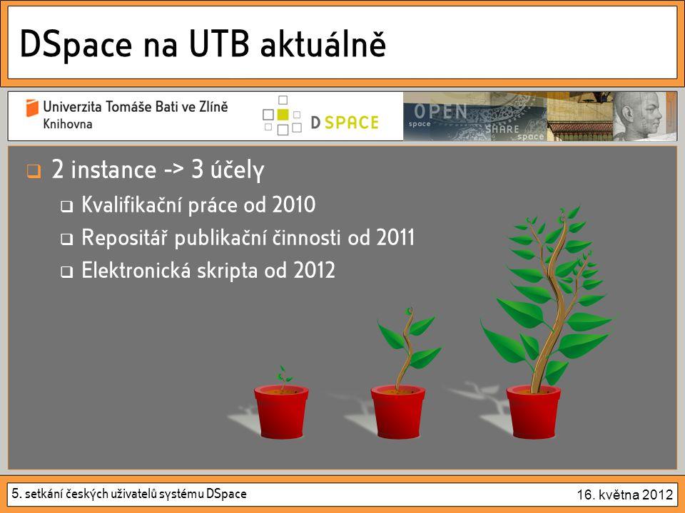 5. setkání českých uživatelů systému DSpace 16. května 2012 DSpace na UTB aktuálně  2 instance -> 3 účely  Kvalifikační práce od 2010  Repositář pu