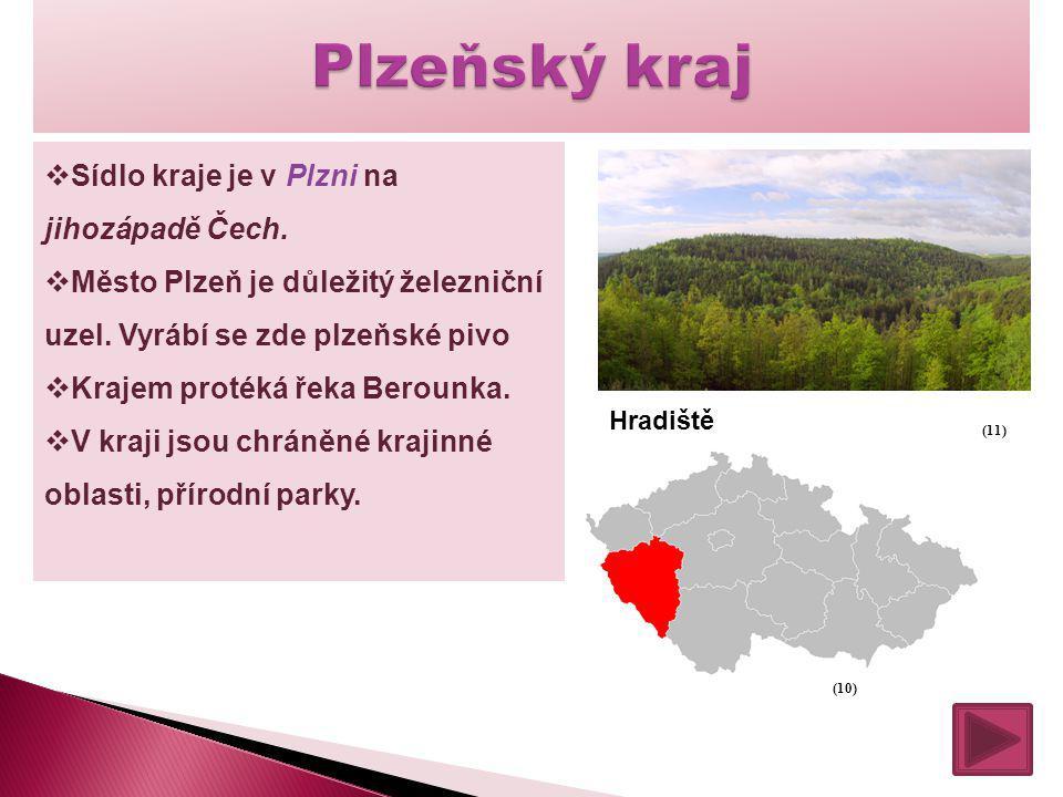  Sídlo kraje je v Plzni na jihozápadě Čech.  Město Plzeň je důležitý železniční uzel. Vyrábí se zde plzeňské pivo  Krajem protéká řeka Berounka. 