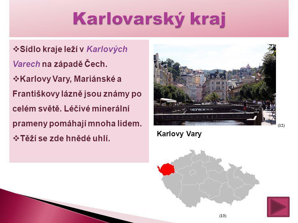  Sídlo kraje leží v Karlových Varech na západě Čech.  Karlovy Vary, Mariánské a Františkovy lázně jsou známy po celém světě. Léčivé minerální pramen