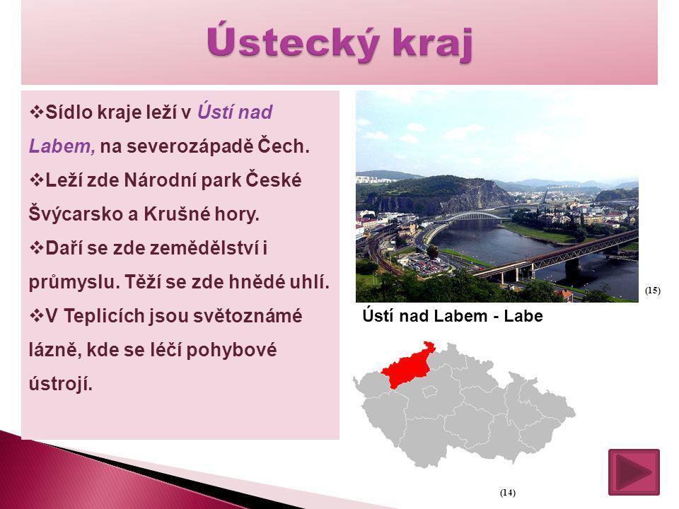  Sídlo kraje leží v Ústí nad Labem, na severozápadě Čech.  Leží zde Národní park České Švýcarsko a Krušné hory.  Daří se zde zemědělství i průmyslu