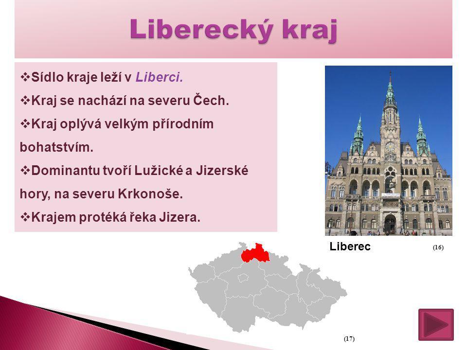  Sídlo kraje leží v Liberci.  Kraj se nachází na severu Čech.  Kraj oplývá velkým přírodním bohatstvím.  Dominantu tvoří Lužické a Jizerské hory,