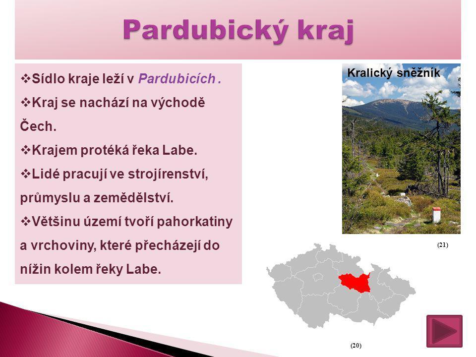  Sídlo kraje leží v Pardubicích.  Kraj se nachází na východě Čech.  Krajem protéká řeka Labe.  Lidé pracují ve strojírenství, průmyslu a zemědělst