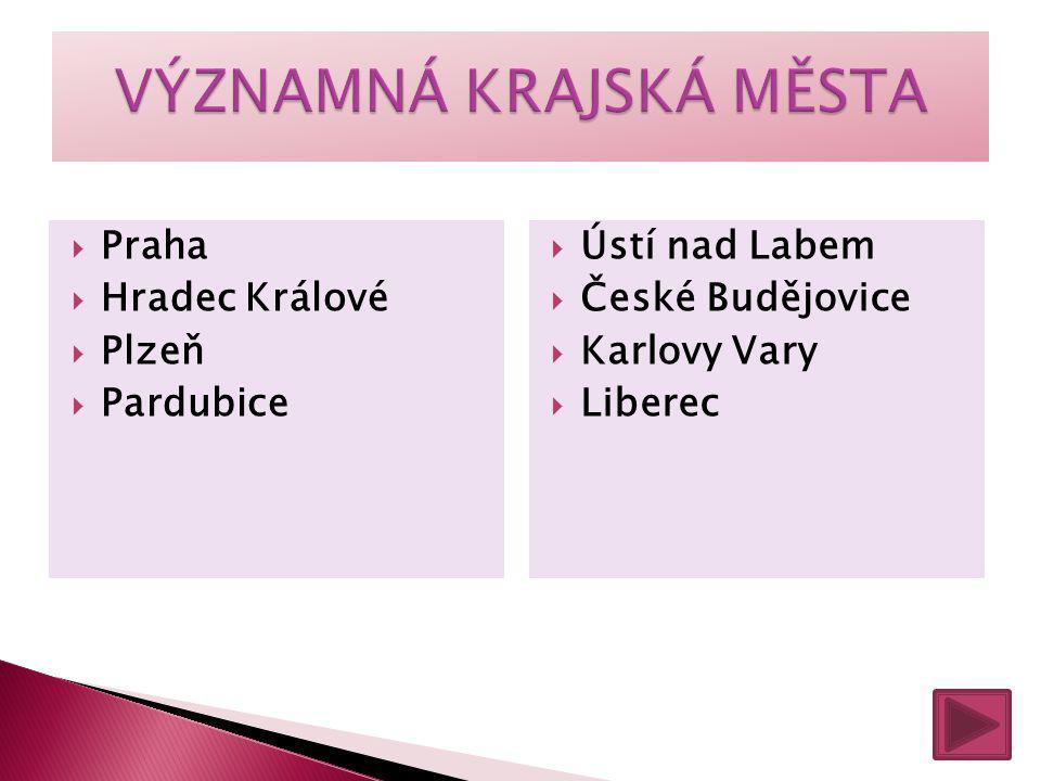  Praha  Hradec Králové  Plzeň  Pardubice  Ústí nad Labem  České Budějovice  Karlovy Vary  Liberec