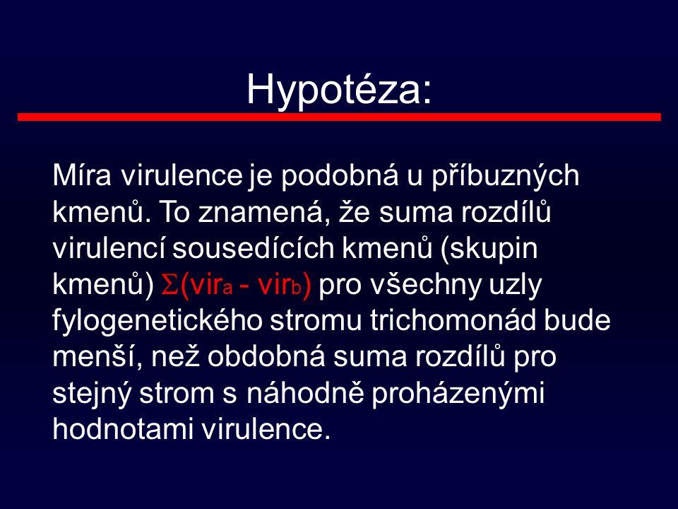 Hypotéza: Míra virulence je podobná u příbuzných kmenů.