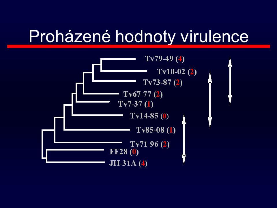 Proházené hodnoty virulence