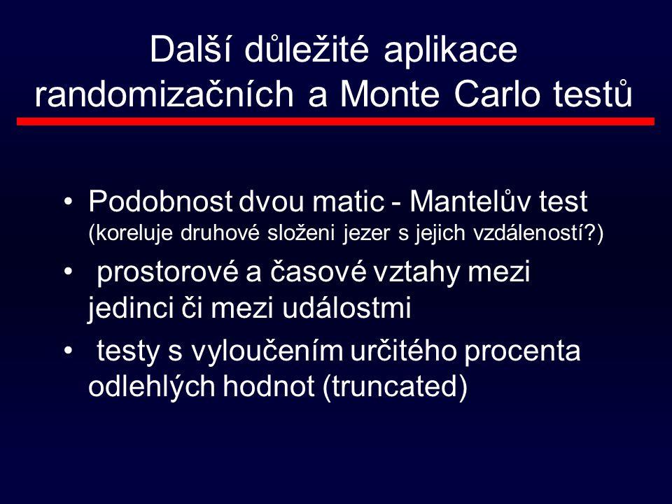 Další důležité aplikace randomizačních a Monte Carlo testů Podobnost dvou matic - Mantelův test (koreluje druhové složeni jezer s jejich vzdáleností?) prostorové a časové vztahy mezi jedinci či mezi událostmi testy s vyloučením určitého procenta odlehlých hodnot (truncated)