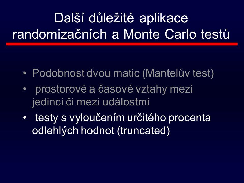 Další důležité aplikace randomizačních a Monte Carlo testů Podobnost dvou matic (Mantelův test) prostorové a časové vztahy mezi jedinci či mezi událostmi testy s vyloučením určitého procenta odlehlých hodnot (truncated)