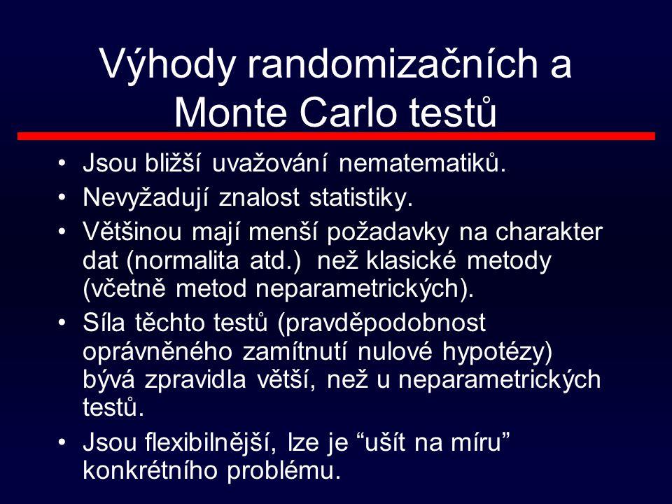 Výhody randomizačních a Monte Carlo testů Jsou bližší uvažování nematematiků.