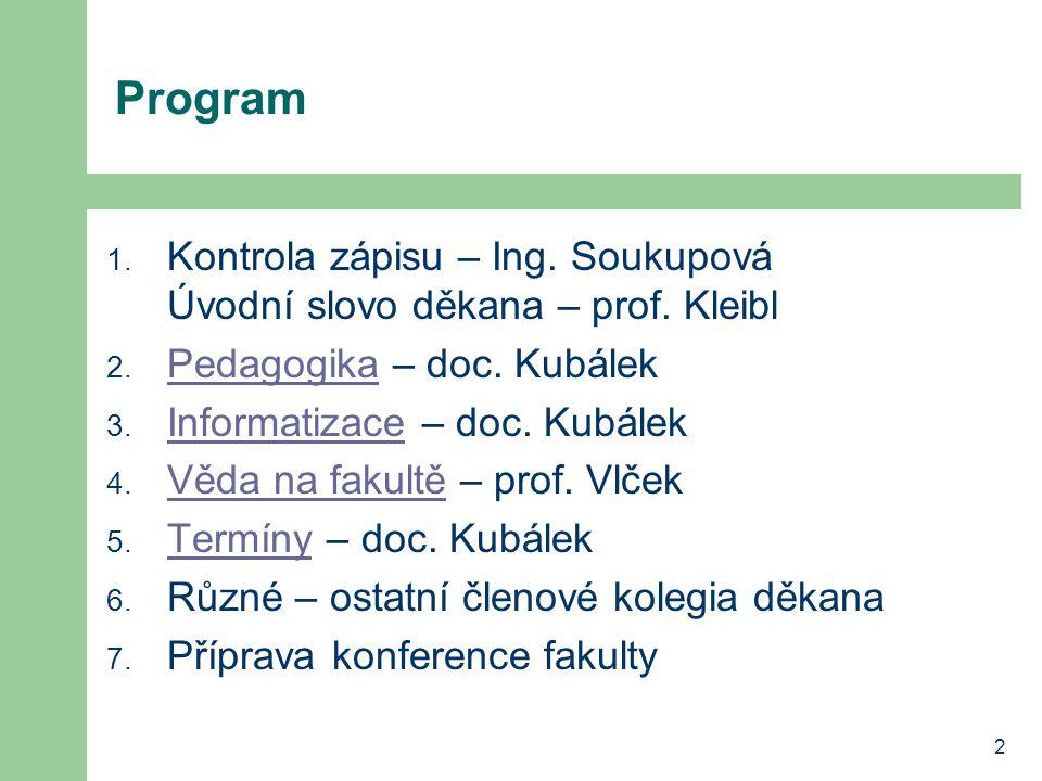 2 Program 1. Kontrola zápisu – Ing. Soukupová Úvodní slovo děkana – prof.