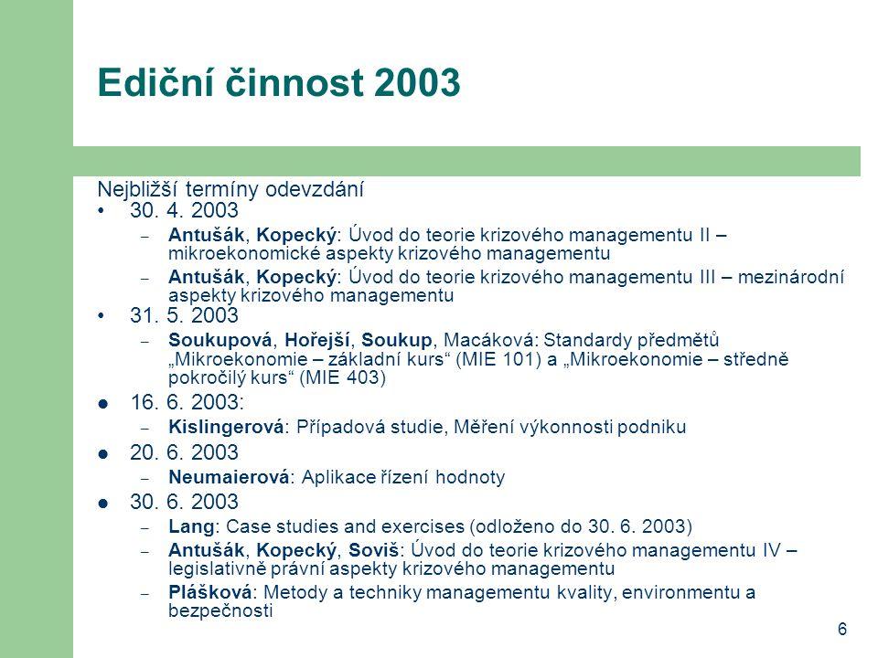 6 Ediční činnost 2003 Nejbližší termíny odevzdání 30.