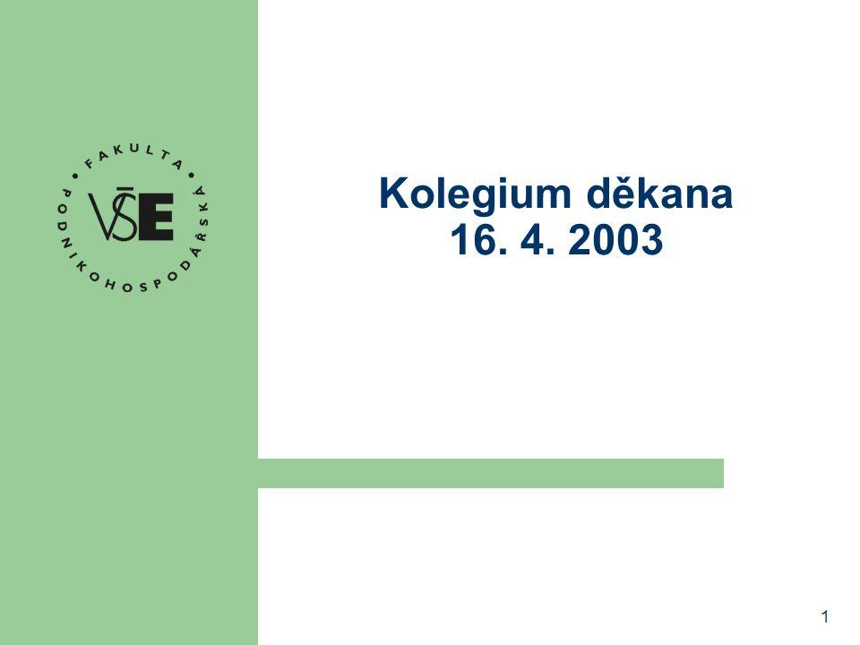 1 Kolegium děkana 16. 4. 2003