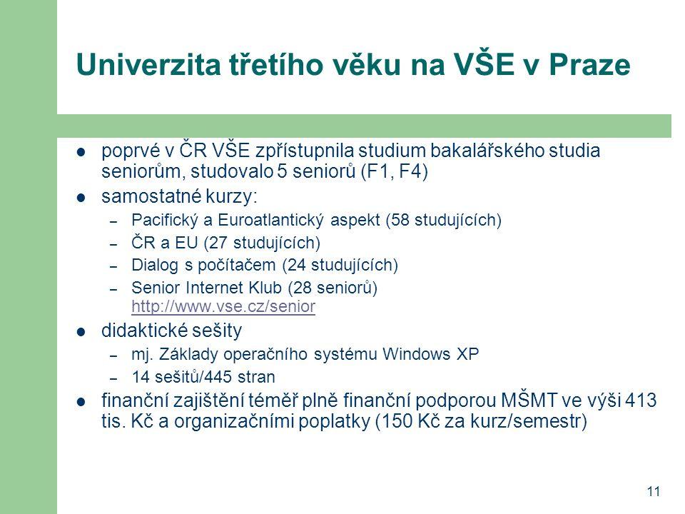 11 Univerzita třetího věku na VŠE v Praze poprvé v ČR VŠE zpřístupnila studium bakalářského studia seniorům, studovalo 5 seniorů (F1, F4) samostatné k