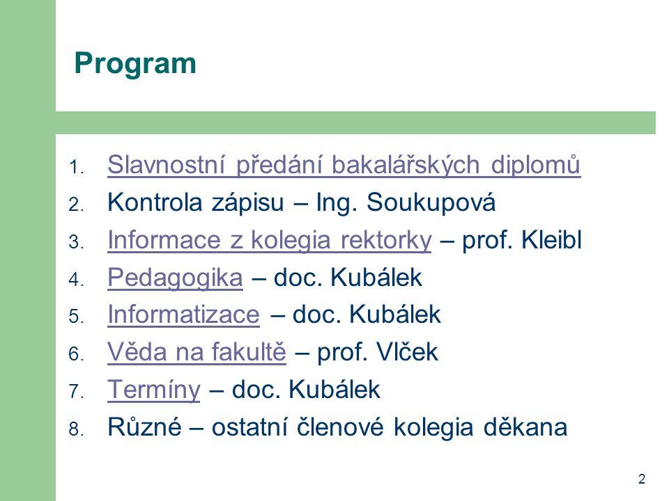 2 Program 1. Slavnostní předání bakalářských diplomů Slavnostní předání bakalářských diplomů 2.