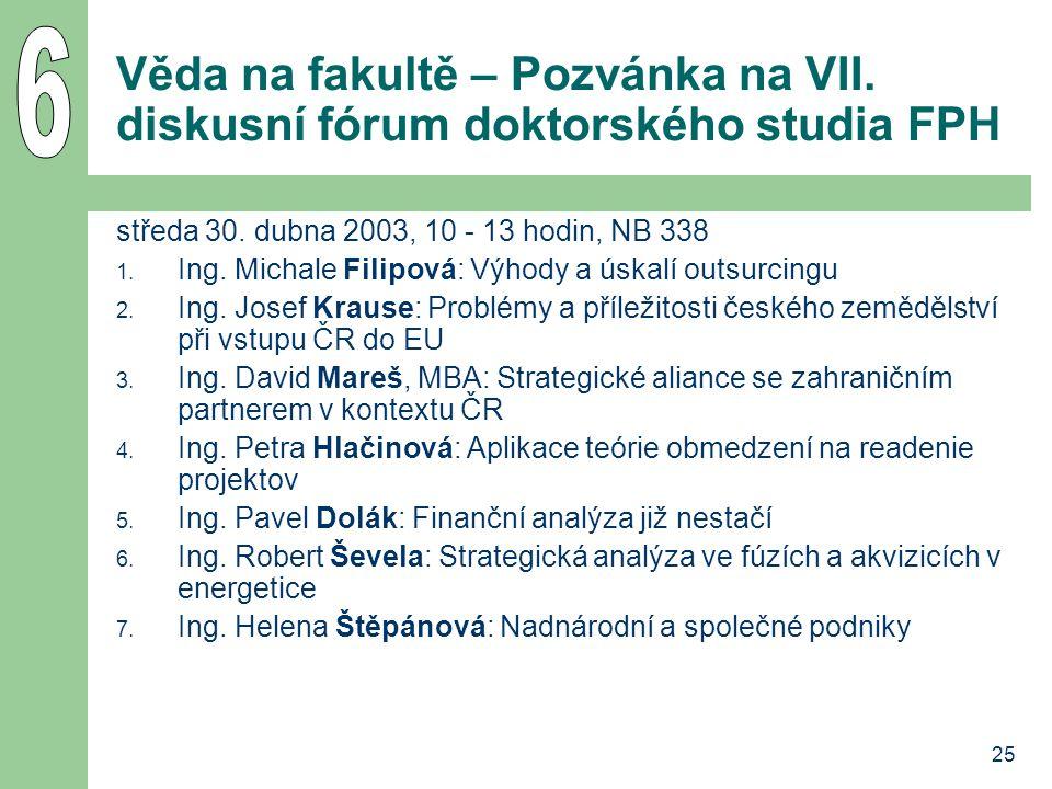 25 Věda na fakultě – Pozvánka na VII. diskusní fórum doktorského studia FPH středa 30.