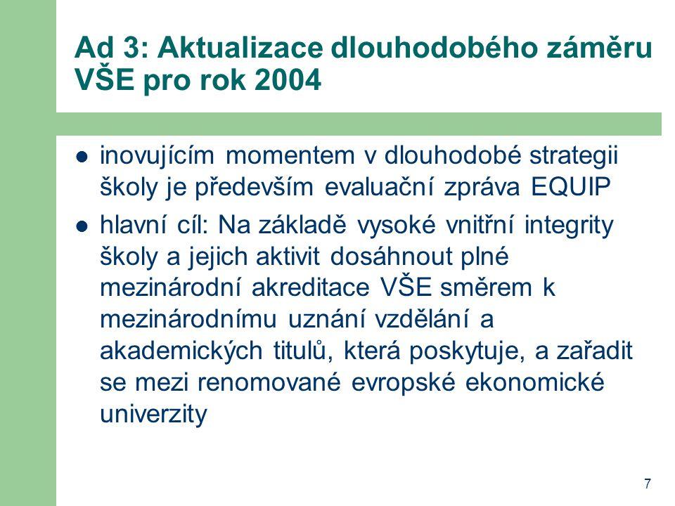 7 Ad 3: Aktualizace dlouhodobého záměru VŠE pro rok 2004 inovujícím momentem v dlouhodobé strategii školy je především evaluační zpráva EQUIP hlavní c