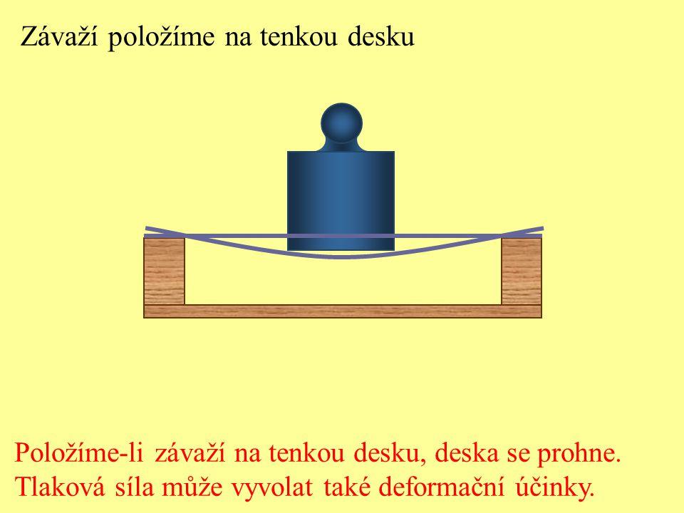 Závaží položíme na tenkou desku Položíme-li závaží na tenkou desku, deska se prohne. Tlaková síla může vyvolat také deformační účinky.