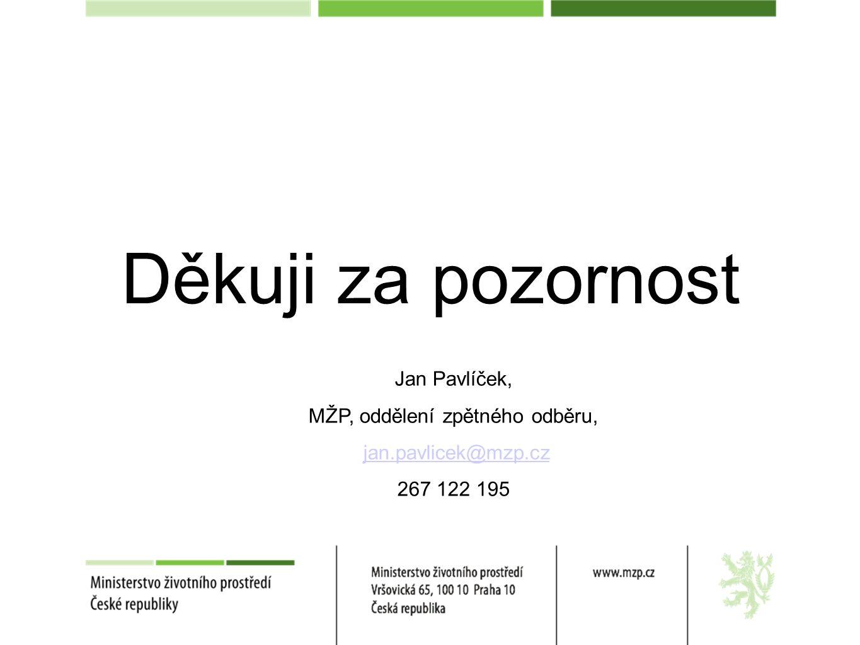 Děkuji za pozornost Jan Pavlíček, MŽP, oddělení zpětného odběru, jan.pavlicek@mzp.cz 267 122 195