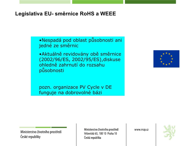 Legislativa EU- směrnice RoHS a WEEE Nespadá pod oblast působnosti ani jedné ze směrnic Aktuálně revidovány obě směrnice (2002/96/ES, 2002/95/ES),diskuse ohledně zahrnutí do rozsahu působnosti pozn.