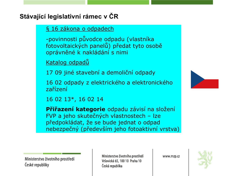 Stávající legislativní rámec v ČR § 16 zákona o odpadech -povinnosti původce odpadu (vlastníka fotovoltaických panelů) předat tyto osobě oprávněné k nakládání s nimi Katalog odpadů 17 09 jiné stavební a demoliční odpady 16 02 odpady z elektrického a elektronického zařízení 16 02 13*, 16 02 14 Přiřazení kategorie odpadu závisí na složení FVP a jeho skutečných vlastnostech – lze předpokládat, že se bude jednat o odpad nebezpečný (především jeho fotoaktivní vrstva) 