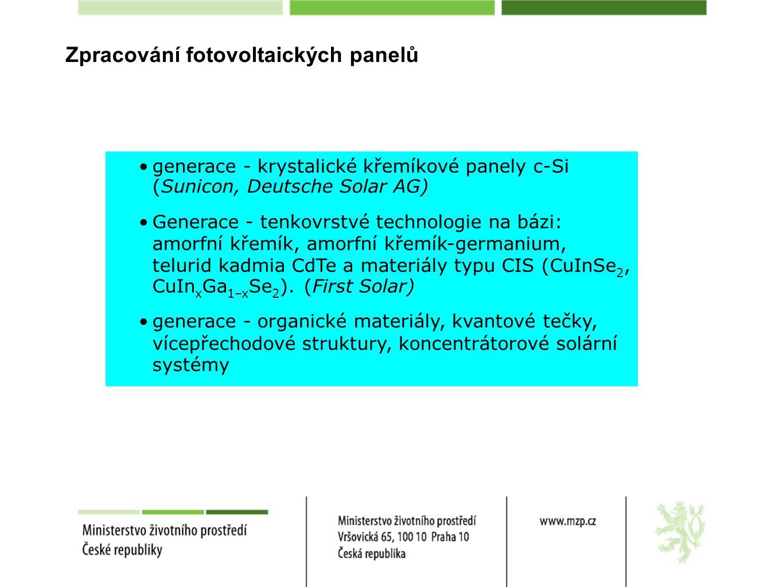 generace - krystalické křemíkové panely c-Si (Sunicon, Deutsche Solar AG)  Generace - tenkovrstvé technologie na bázi: amorfní křemík, amorfní křemík-germanium, telurid kadmia CdTe a materiály typu CIS (CuInSe 2, CuIn x Ga 1–x Se 2 ).