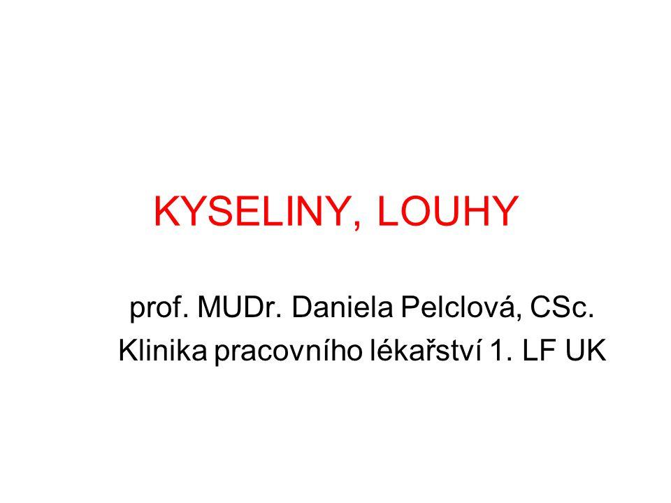 KYSELINY, LOUHY prof. MUDr. Daniela Pelclová, CSc. Klinika pracovního lékařství 1. LF UK