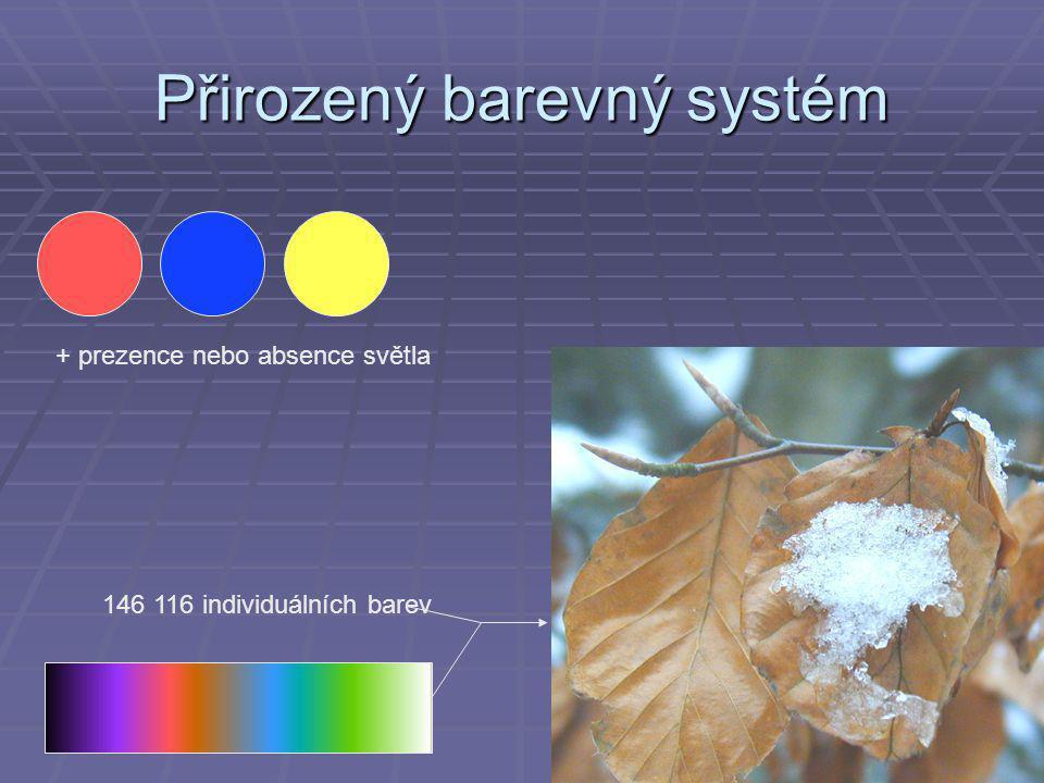 Přirozený barevný systém + prezence nebo absence světla 146 116 individuálních barev