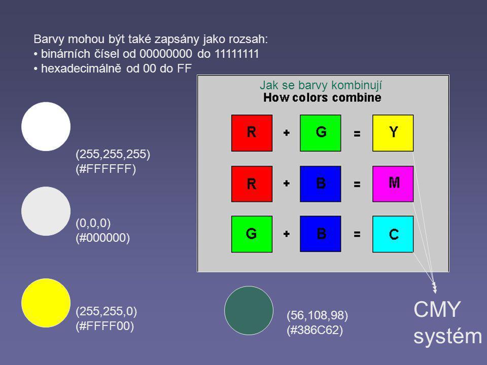 (255,255,255) (#FFFFFF) (0,0,0) (#000000) Barvy mohou být také zapsány jako rozsah: binárních čísel od 00000000 do 11111111 hexadecimálně od 00 do FF (255,255,0) (#FFFF00) (56,108,98) (#386C62) CMY systém Jak se barvy kombinují