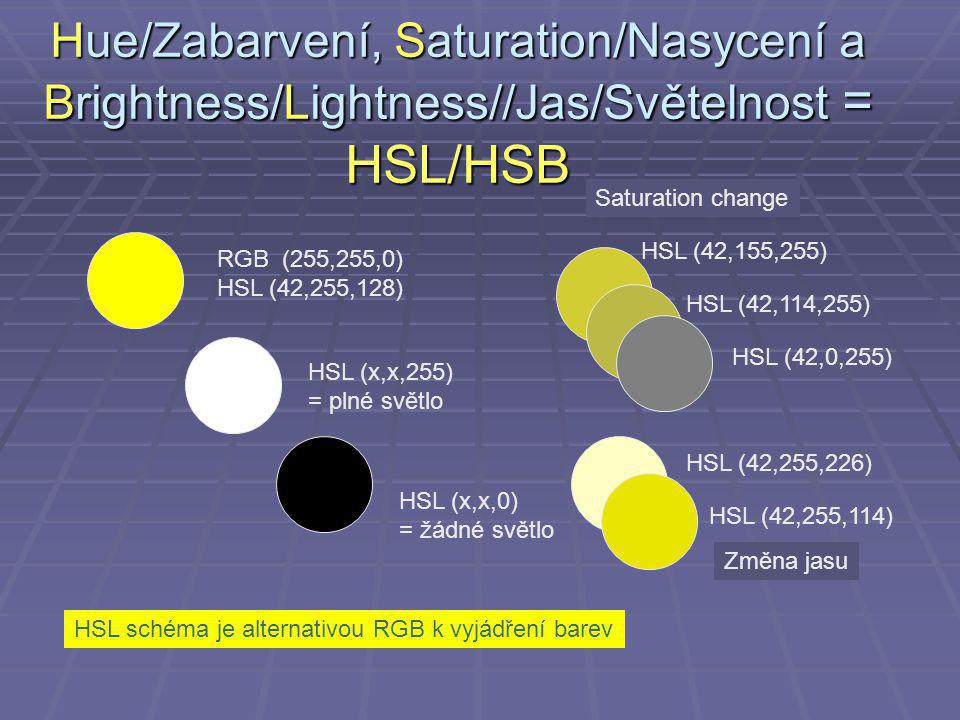 Hue/Zabarvení, Saturation/Nasycení a Brightness/Lightness//Jas/Světelnost = HSL/HSB RGB (255,255,0) HSL (42,255,128) HSL (x,x,255) = plné světlo HSL (x,x,0) = žádné světlo HSL (42,155,255) HSL (42,114,255) HSL (42,0,255) HSL (42,255,226) HSL (42,255,114) Změna jasu Saturation change HSL schéma je alternativou RGB k vyjádření barev