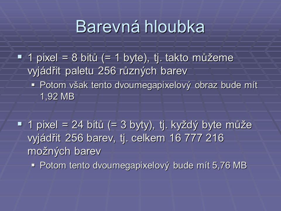 Barevná hloubka  1 pixel = 8 bitů (= 1 byte), tj.
