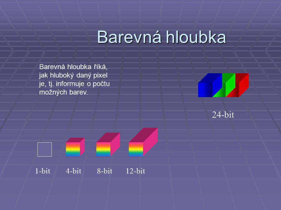 Barevná hloubka 1-bit4-bit8-bit12-bit 24-bit Barevná hloubka říká, jak hluboký daný pixel je, tj.