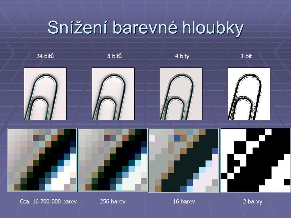 Snížení barevné hloubky 24 bitů 8 bitů4 bity1 bit 2 barvy16 barev256 barevCca. 16 700 000 barev