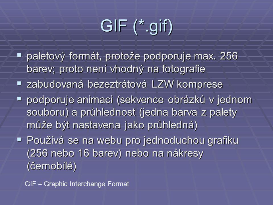 GIF (*.gif)  paletový formát, protože podporuje max.