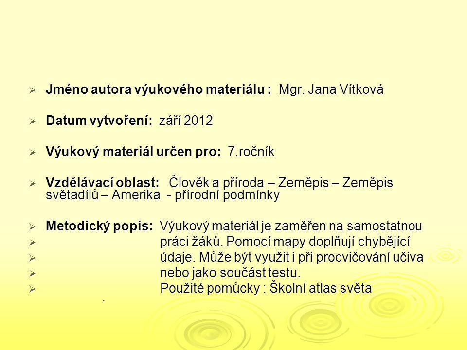  Jméno autora výukového materiálu : Mgr. Jana Vítková  Datum vytvoření: září 2012  Výukový materiál určen pro: 7.ročník  Vzdělávací oblast: Člověk