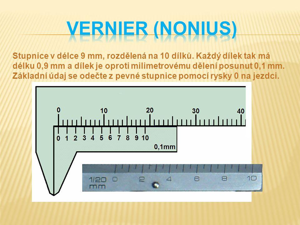 Stupnice v délce 9 mm, rozdělená na 10 dílků. Každý dílek tak má délku 0,9 mm a dílek je oproti milimetrovému dělení posunut 0,1 mm. Základní údaj se