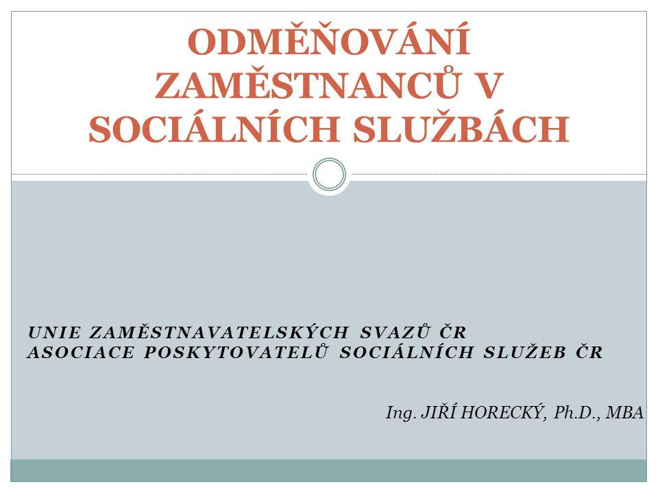 UNIE ZAMĚSTNAVATELSKÝCH SVAZŮ ČR ASOCIACE POSKYTOVATELŮ SOCIÁLNÍCH SLUŽEB ČR ODMĚŇOVÁNÍ ZAMĚSTNANCŮ V SOCIÁLNÍCH SLUŽBÁCH Ing.