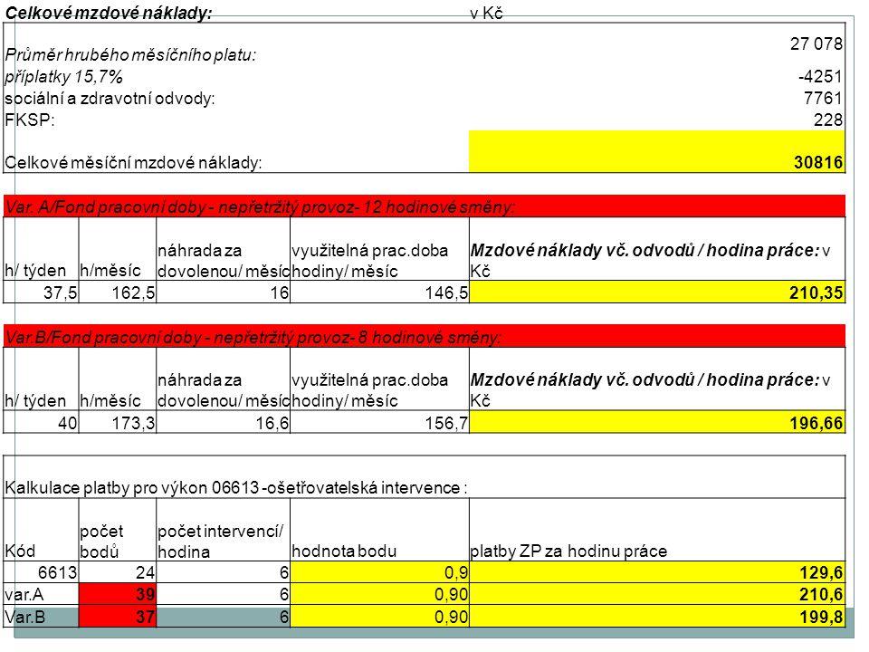 Celkové mzdové náklady:v Kč Průměr hrubého měsíčního platu: 27 078 příplatky 15,7%-4251 sociální a zdravotní odvody:7761 FKSP:228 Celkové měsíční mzdové náklady: 30816 Var.