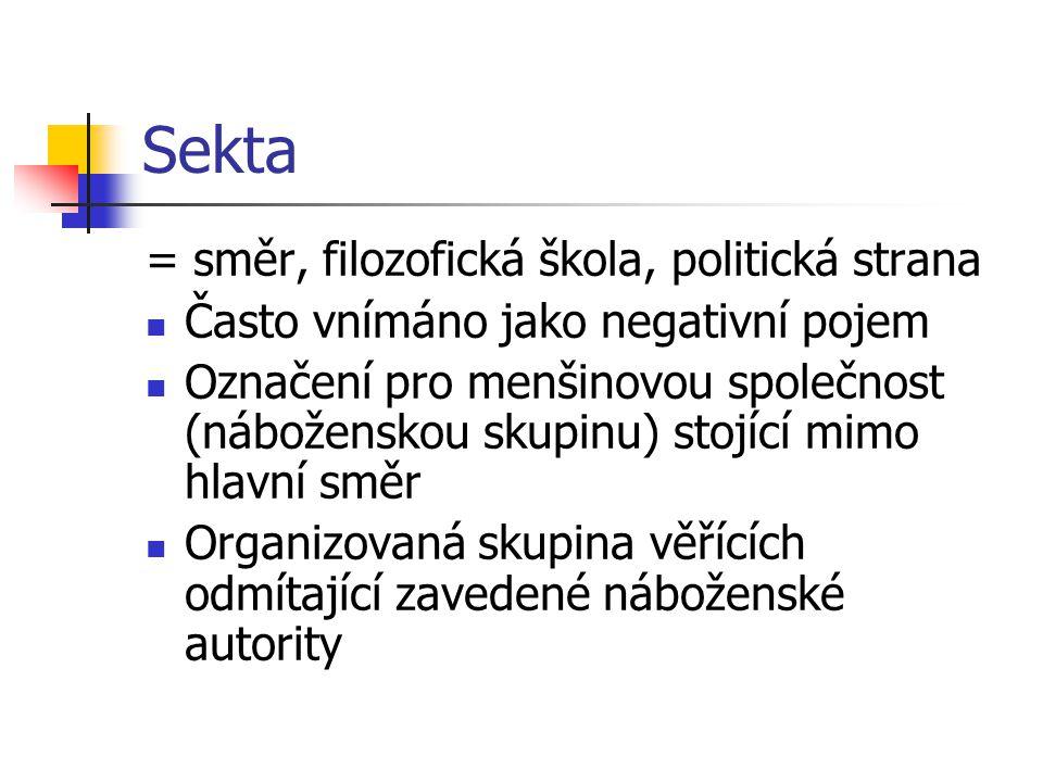 Sekta = směr, filozofická škola, politická strana Často vnímáno jako negativní pojem Označení pro menšinovou společnost (náboženskou skupinu) stojící
