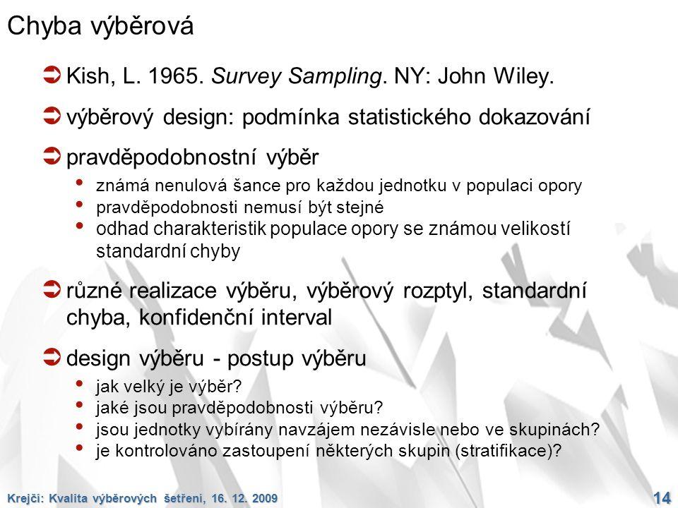 Krejčí: Kvalita výběrových šetření, 16. 12. 2009 14 Chyba výběrová  Kish, L. 1965. Survey Sampling. NY: John Wiley.  výběrový design: podmínka stati