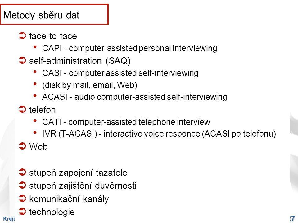 Krejčí: Kvalita výběrových šetření, 16. 12. 2009 27 Metody sběru dat  face-to-face CAPI - computer-assisted personal interviewing  self-administrati