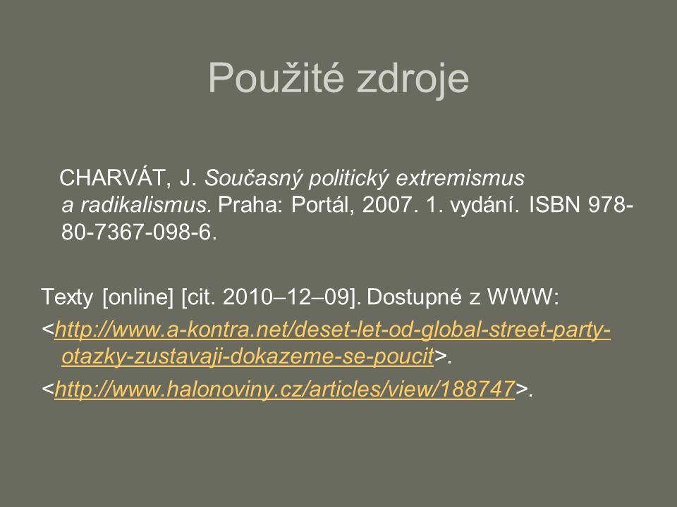 Použité zdroje CHARVÁT, J.Současný politický extremismus a radikalismus.