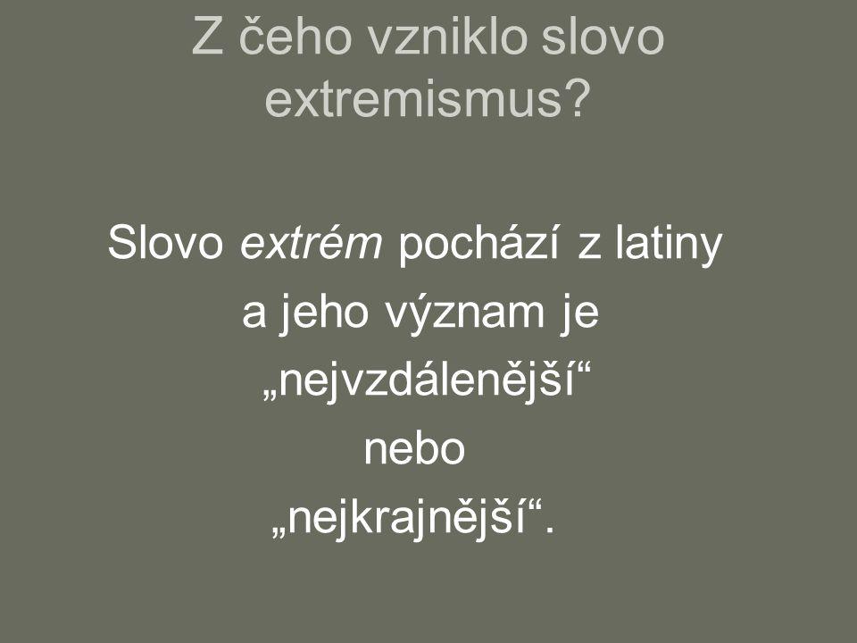 Z čeho vzniklo slovo extremismus.
