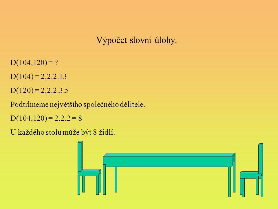 Výpočet slovní úlohy. D(104,120) = ? D(104) = 2.2.2.13 D(120) = 2.2.2.3.5 Podtrhneme největšího společného dělitele. D(104,120) = 2.2.2 = 8 U každého