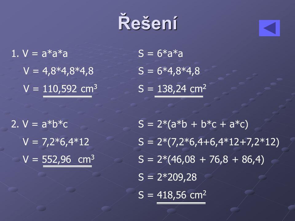 Řešení 1.V = a*a*aS = 6*a*a V = 4,8*4,8*4,8S = 6*4,8*4,8 V = 110,592 cm 3 S = 138,24 cm 2 2.
