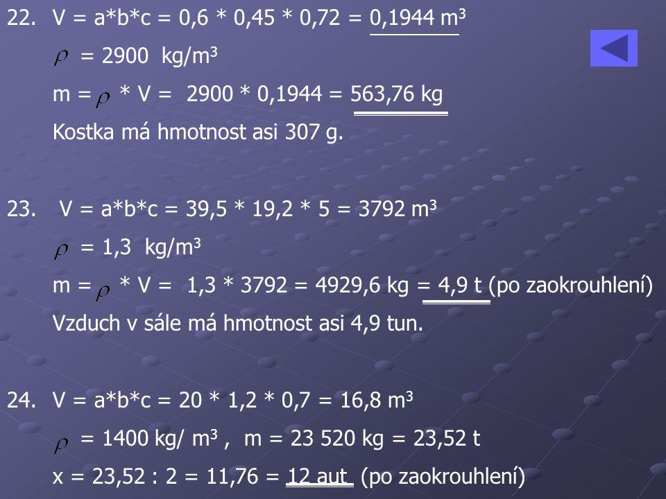 22. V = a*b*c = 0,6 * 0,45 * 0,72 = 0,1944 m 3 = 2900 kg/m 3 m = * V = 2900 * 0,1944 = 563,76 kg Kostka má hmotnost asi 307 g. 23. V = a*b*c = 39,5 *