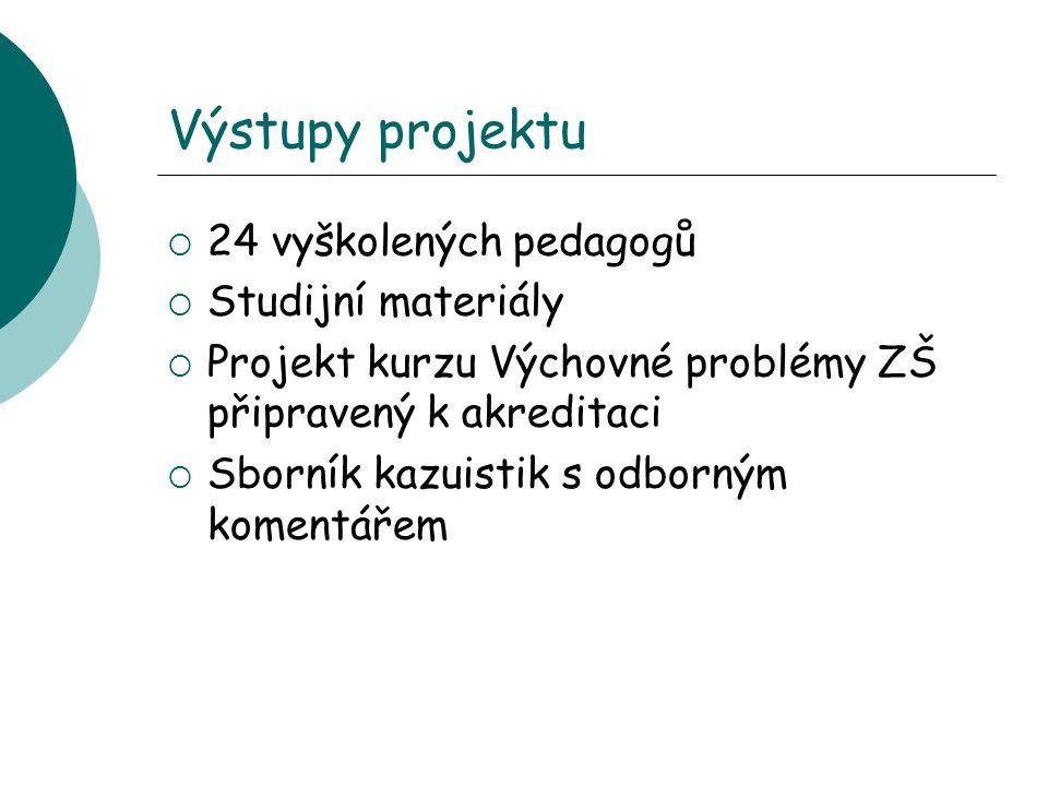 Výstupy projektu  24 vyškolených pedagogů  Studijní materiály  Projekt kurzu Výchovné problémy ZŠ připravený k akreditaci  Sborník kazuistik s odborným komentářem