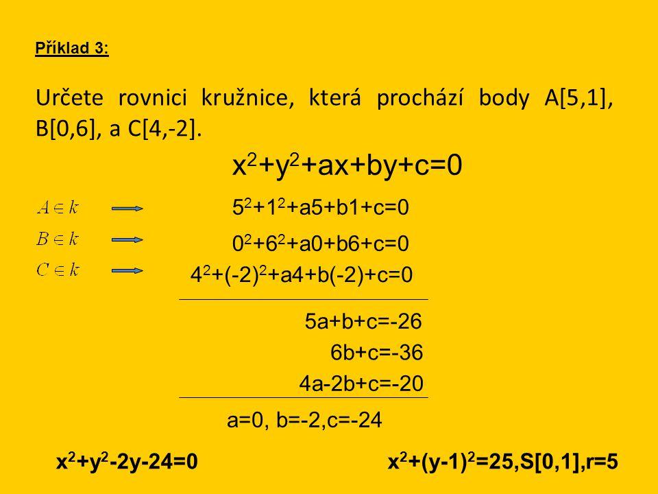 Určete rovnici kružnice, která prochází body A[5,1], B[0,6], a C[4,-2]. Příklad 3: x 2 +y 2 +ax+by+c=0 5 2 +1 2 +a5+b1+c=0 0 2 +6 2 +a0+b6+c=0 4 2 +(-